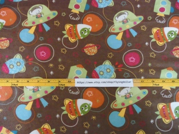 Fabric sewing monkey space ship cotton flannel by flyingdollar for Space flannel fabric