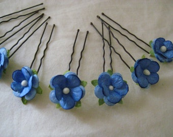 Blue Forget me not Hairpins x 8. HANDMADE.