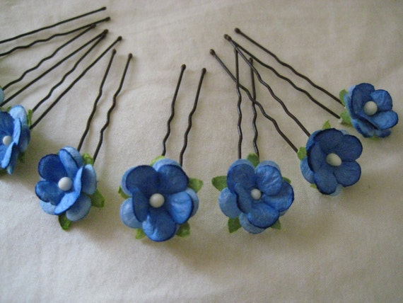 Blue Forget me not Hairpins x 8. Wedding, Bridal. Something Blue.
