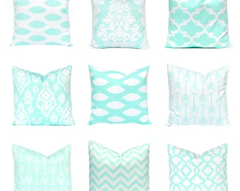 Mint Green Pillow Covers - Decorative Pillow Covers - Mint Pillow Shams - Mint Euro Sham - Mint Throw Pillow - Mint Lumbar Pillow