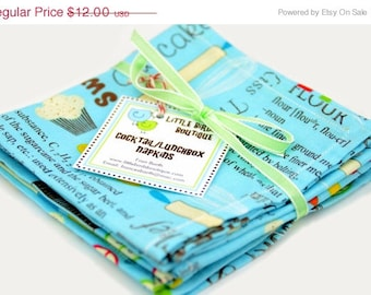 ON SALE Cloth Napkins 9 inch Set of 4 Lunchbox Cocktail Child Toddler in Sugar and Spice