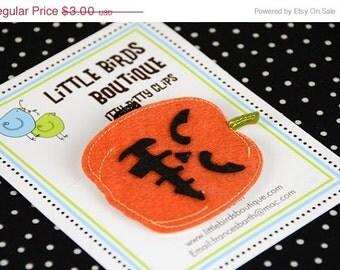 ON SALE Baby Toddler Hair Clips/Bows - Halloween Orange Black Pumpkin- Mean