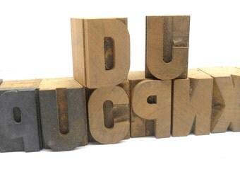 Vintage  Wood  Letter  Blocks