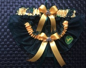 New Wedding Garter set Handmade with John Deere fabric. dark green organza.
