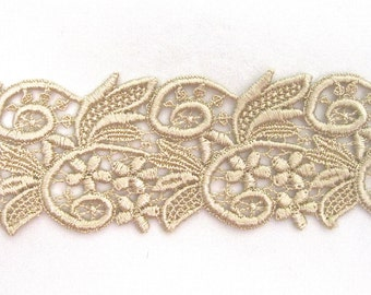 Gorgeous Venice Lace Flowers Swirls Trim HALF Yd Golden Venise