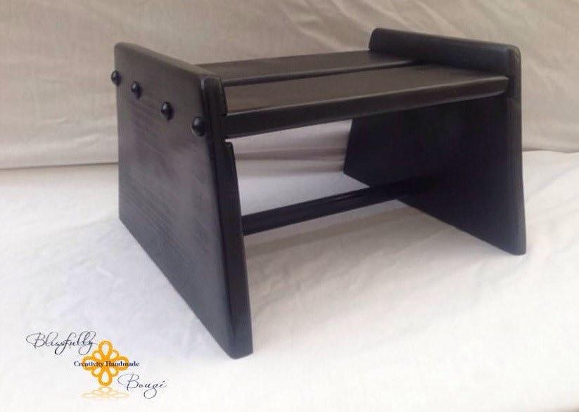 Handmade Wood Step Stool Painted Black