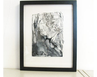 Framed original painting, black and white abstract watercolor, Lunar Colony 1