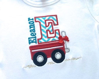 Wagon Embroidered Applique shirt or onesie with name and letter or number
