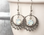 White Opal Filigree Earrings, SIlver, Hoop, Dangle, October Birthstone