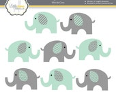 Mint and Grey Elephants Clipart, Mint Green and Gray Nursery Decor, Elephant Graphics, Elephant Illustrations, Commercial Use