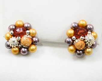 60s Clip Earrings - Saffron Yellow - Lilac - Faux Pearls - Cinnamon Faceted Beads - Goldtone Metal - 1960s - Clips - Clusters - 42599