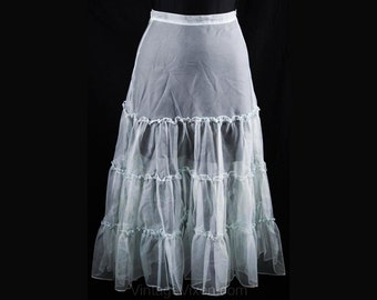 XXS Sheer Crinoline - Early 1950s Baby Blue Net Petticoat - Size less than 000 - Mint Condition - NWT - 50s - Sheer - Waist 21-  34249-1