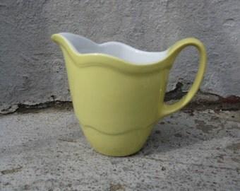 vintage shenango china cream pitcher yellow 1957 rimrol welroc restaurant ware cottage kitchen farmhouse