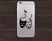 Comedy Tragedy Masks, Drama Vinyl iPhone Decal BAS-0304