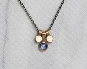 Rose Cut Sapphire Petal Necklace - Sterling Silver and 14k Gold Lotus Necklace