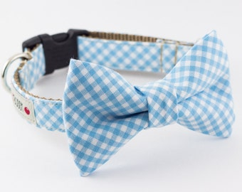 Pastel Blue Gingham Dog Bow Tie Collar