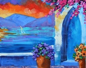 Two Paintings Original Oil Landscape Art Greek Islands Famous Places Sunset Floral Flowers Sail Boats