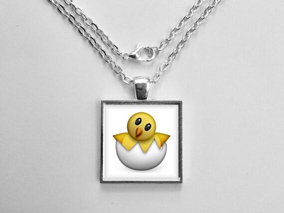 Hatching Chick Emoji Necklace or Keychain