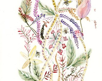 ORIGINAL Flowers  And Bees water-colour painting