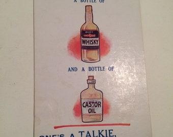 Vintage Funny Drinking Comics Postcard - Illustration Whisky Castor Oil