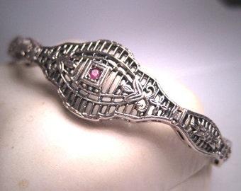Vintage Ruby Filigree Bracelet Estate Art Deco Floral Sterling Silver