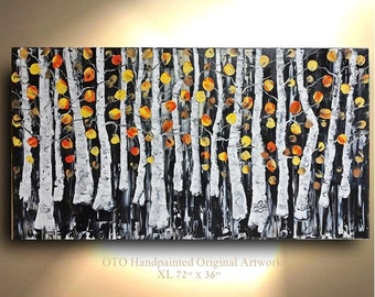 ORIGINAL Painting 72x36 Black White Peach Orange Naples Yellow Birch Aspen Tree Abstract Texture wall decor Artwork Fine art canvas by OTO