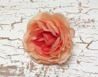 Silk Flowers - ONE CORAL PEACH Ranunculus - Artificial Flowers