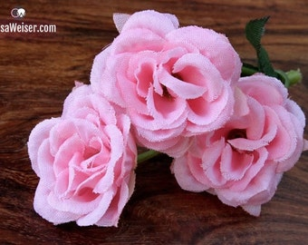 Silk Flowers - Nine Pink Mini Roses - Small Flowers - Artificial Flowers