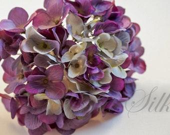Silk Flowers - Hydrangea Head in Shades of Purple - Artificial Flowers, Flower Crown, Halo, Wedding Flowers