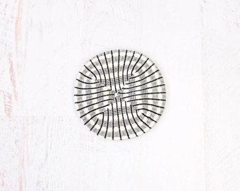 VINTAGE Beret Knit Black White Stripes