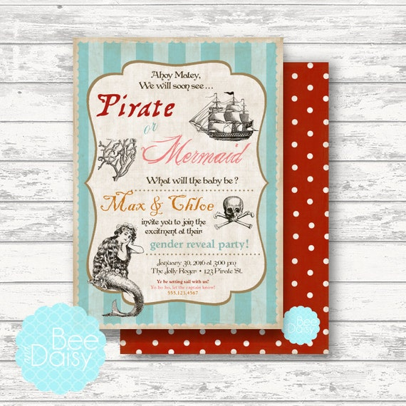 Pirate And Mermaid Gender Reveal Invitation By BeeAndDaisy