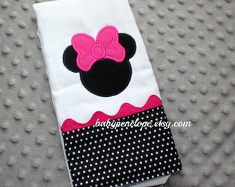 Boutique Style Baby Burp Cloth - Minnie Mouse