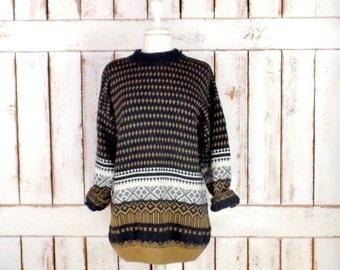 Vintage Esprit grey/tan/ivory tribal print winter snow cabin wool sweater/pullover/boyfriend slouchy sweater