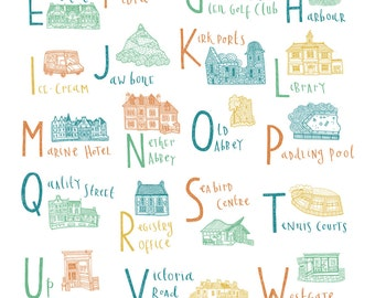 North Berwick Alphabet Illustration Print