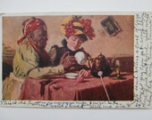 The Tea Cup's Fortune Telling, Antique Postcard, Signed Harry Roseland, 1909 cancel, Fortune Teller, Tea Leaves,