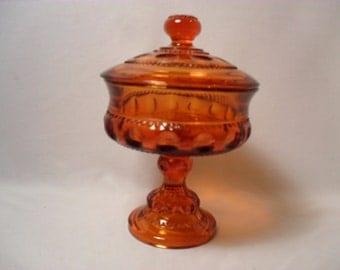 Amber Glass Thumbprint Pedestal Lidded Candy Dish