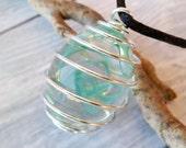 Lampwork Pendant. Blue Green Glass Pendant. Lampwork Necklace.