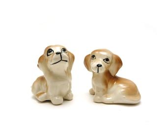 Best friends - Vintage ceramic dog figurines, puppy, brown & white
