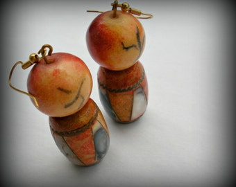 Abstract Little Man Earrings with Abalone Insets