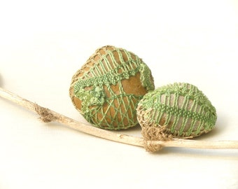 Green Crochet Lace stones, Rustic Pebble art , Country decor Collectibles, Decorated Stones, Upcycled Eco Art,Paperweights .