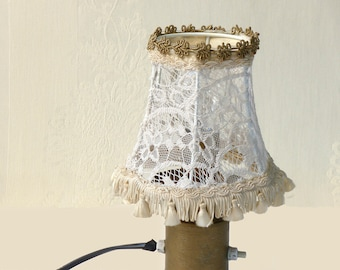 Shabby chic lampshade, Fabric lace bedroom light  Lace table lamp with antique unique lace, Floral home decor, Country french decor