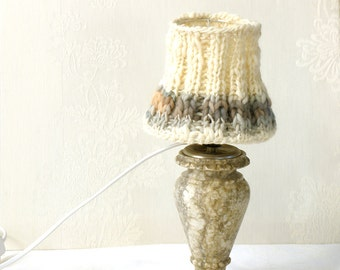 20% Off- Table lamp, Drum lamp shade, Knitted fabric embellished decor from cream naturewool, Desk lamp, Bedside lamp, Country home decor.
