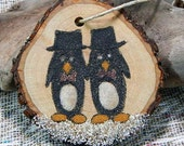 Marriage equality gift tag ornament penguin grooms original sand painting tree branch tag gay wedding shower present gift Christmas
