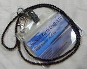 """Red garnet and silver hematite ID badge holder 29"""" long lanyard identity card holder semiprecious stone jewelry packaged in a gift bag 1079"""