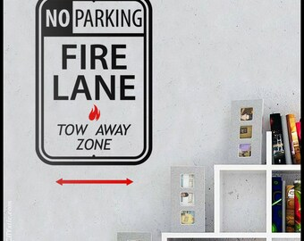 USA : WALL DECAL - Fire Lane No Parking decal