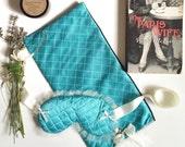 Silk Lingerie Set - Lingerie Bag & Sleep Mask Quilted Teal | Chantilly |  Love Me Sugar