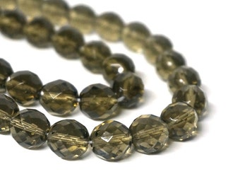 12mm faceted round Czech Glass Beads, Smoke Grey, full & half strands available  (1084G)