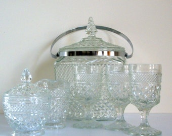 Cut Glass Icebucket and Creamer Set Eight pieces Vintage /Gift for Him Gift for Her