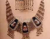 Egyptian Brass Enameled King Tutankhamun Earrings And Necklace Set