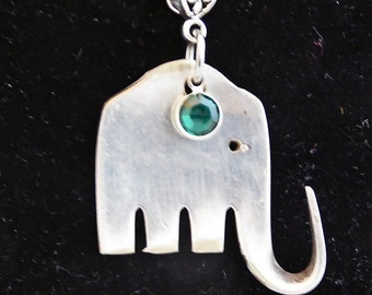 Elephant pendant, silverware fork necklace, Silver, upcycled, choice of stone, free gift box